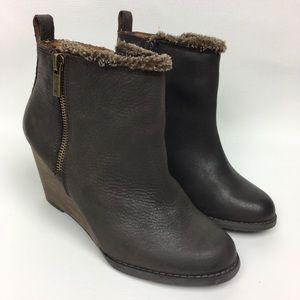 Lucky Brand 🍀 Wedge Booties Sz 6 Leather